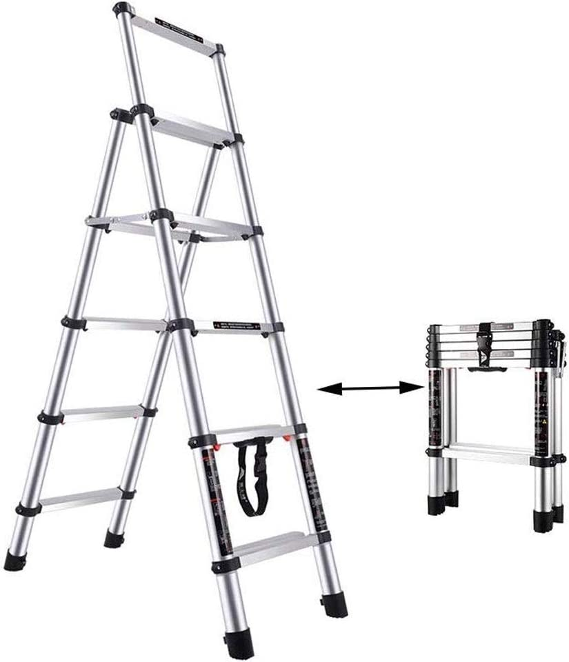 JYPZSH Extensión telescópica de Aluminio Escalera Plegable A-Frame 5 Escaleras Pasos de Plegado Multi-Uso máximo de Carga de 330lb, Multiuso for el hogar Diariamente y Uso al Aire Libre: Amazon.es: Hogar