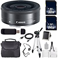 Canon EF-M 22mm f/2 STM Lens + 64GB SDXC Class 10 Memory Card + 32GB SDHC Class 10 Memory Card 6AVE Bundle 16 (International Verion) No Warranty
