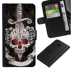 ZCell / HTC One M8 / Dagger Black Red Rose Devil Skull / Caso Shell Armor Funda Case Cover Wallet / Daga Negro Rojo Rosa diablo cráneo