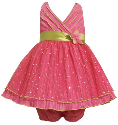 Bonnie Jean Baby/Infant 2-Piece FUCHSIA CRINKLE SKIRT FOIL DOT MESH OVERLAY HALTER Special Occasion Flower Girl Party Dress