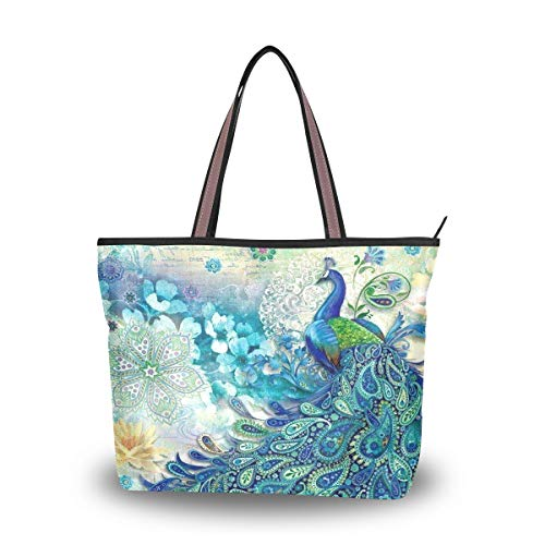 - Women Tote Top Handle Shoulder Bags Beautiful Peacock Large Zip Ladies Handbag