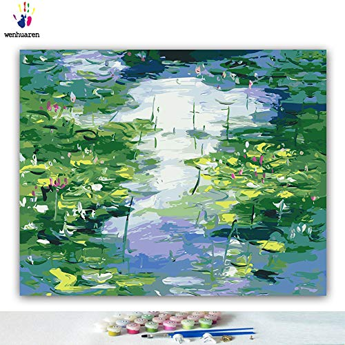 Paint by Number Kits 16 x 20 inch Canvas DIY Oil Painting for Kids, Students, Adults Beginner with Brushes and Acrylic Pigment -Claude Monet Water Lily Lotus Pond(Without Frame) -