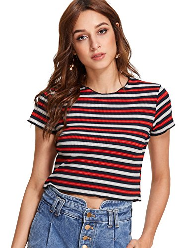 Romwe Women's Striped Ribbed Crop Top Round Neck Short Sleeve Tee Shirt Red/Black/White S