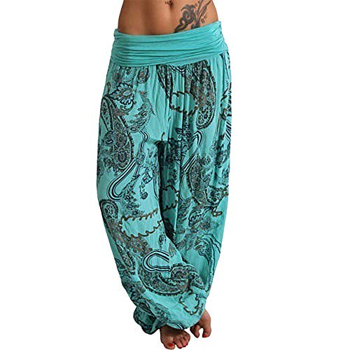 - WOCACHI Womens Yoga Pants Wide Leg Leggings Ladies Summer Boho Printed Drawstring Casual Loose Pocket Button Harem Pants 2019 New Deals Gym Fitness Under 10 Dollars July 4th