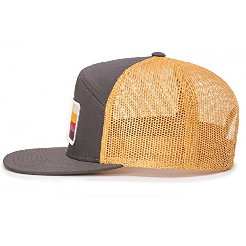 58e390580a3c4 Amazon.com  2040USA Richardson 7 Panel Mesh Trucker Hat (Charcoal Burnt  Orange Black)  Clothing