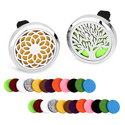 abooxiu 2 Pack Car Aromatherapy Essential Oil Diffuser Vent Clip Stainless Steel Air Freshener Lockets 24 Felt Pads (Tree + Sunflower)
