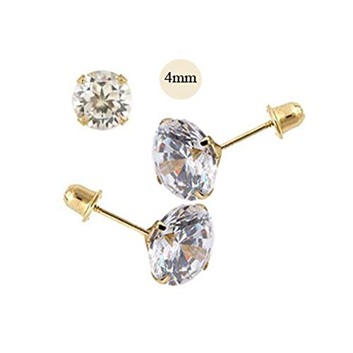 Image Unavailable. Image not available for. Color  14K Yellow Gold 4mm  Round Simulated Diamond Stud Earring Set on Stamping Setting 61ca6399e444