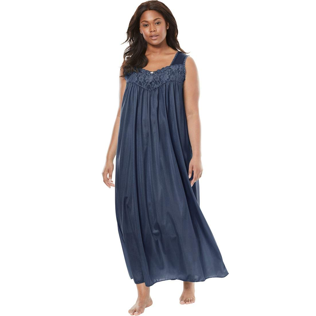 Only Necessities Womens Plus Size Long Tricot Knit Nightgown