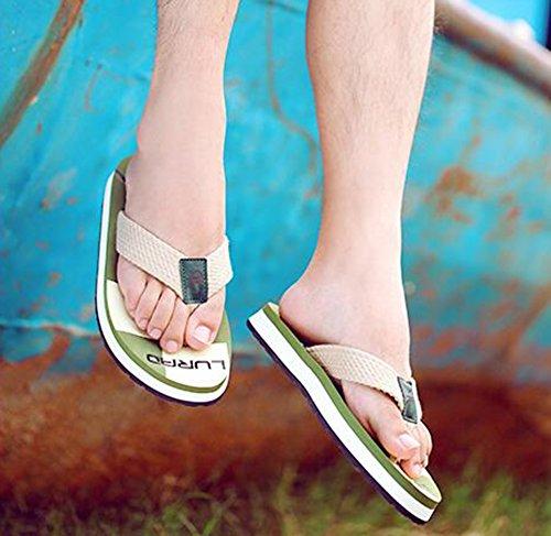 Summerwhisper Heren Duurzaam Antislip Strand Slippers Platform Thong Flip Flops Groen