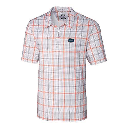 Cutter & Buck NCAA Florida Gators Short Sleeve Gordon Plaid Print Polo, Medium, College Orange/Elemental Grey