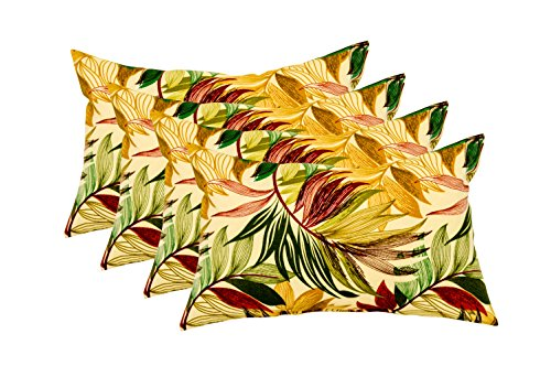 Set of 4 Indoor / Outdoor Decorative Accent Lumbar / Rectangle Pillows - Oasis Nutmeg - Tan, Brown, Green, Maroon by RSH Decor
