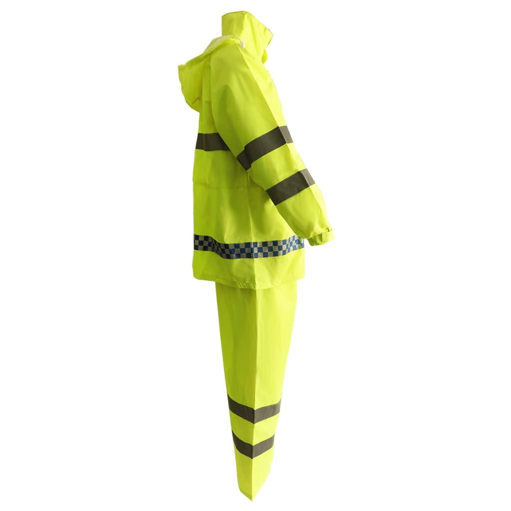 Flameer Reflective Raincoat Waterproof Rainwear Hood Jacket Outdoor Coat Pants Zipper Design - XXL by Flameer (Image #3)