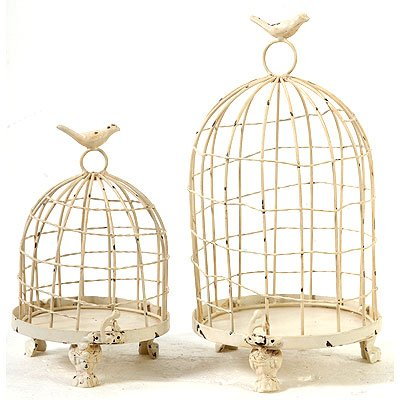 Decorative Metal Bird Cage.Decorative Metal Bird Cage Cream 13 9 Set Of 2