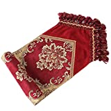 Yoovi Luxury Jacquard Floral Red Table Runner Paisley with Multi Tassels for Bedroom and Living Room (13''W x 102''L)
