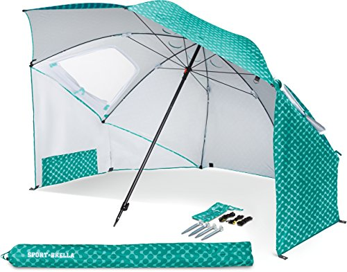 Sport Brella Portable All Weather & Sun Umbrella, 8 foot Canopy, Turquoise
