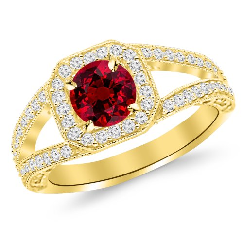 1.67 Carat 14K Yellow Gold Square Halo Split Shank With Milgrain Diamond Engagement Ring with a 1 Carat Natural Ruby Center (Heirloom Quality) from Houston Diamond District