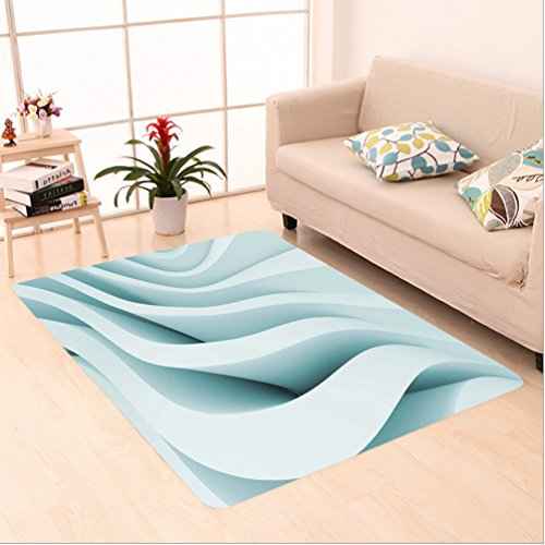 Porcello Waves (Nalahome Custom carpet act Decor Ice Blue Colored Modern Geometric Designed Ocean Waves Inspired Artwork Light Ice Blue area rugs for Living Dining Room Bedroom Hallway Office Carpet (24