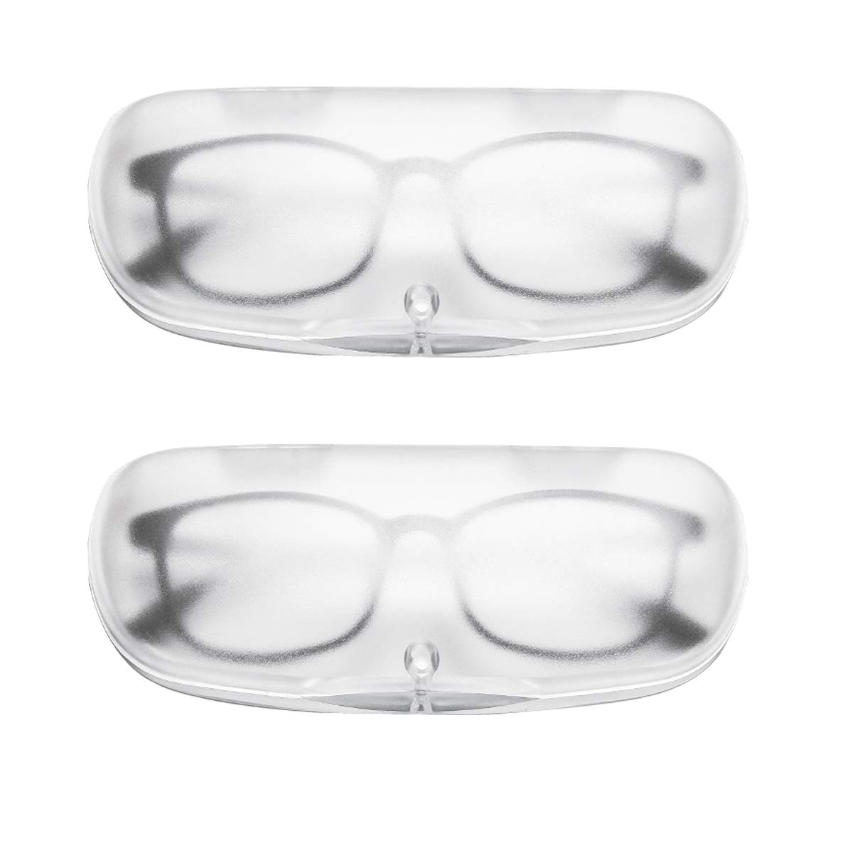 EZESO Magnet Buckle Frosted Translucent Nearsighted Eyeglasses Case (2 pcs Transparent White)