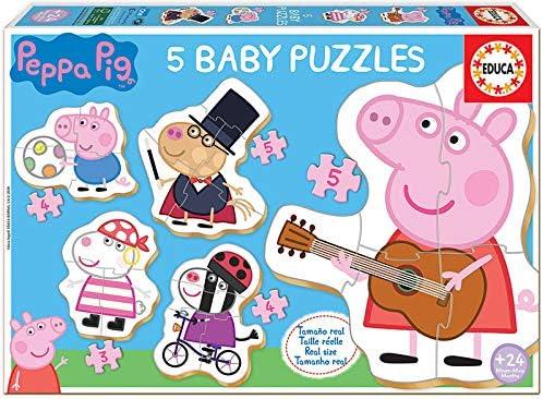 Educa - Baby Puzzles, puzzle infantil Baby Peppa Pig 2, 5 puzzles progresivos de 3 a 5 piezas, a partir de 24 meses (18589): Amazon.es: Juguetes y juegos