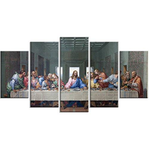 (Designart Last Supper by Giacomo Raffaelli-Classic Canvas Art Print-60x32-5, 60x32-5 Panels Diamond Shape)