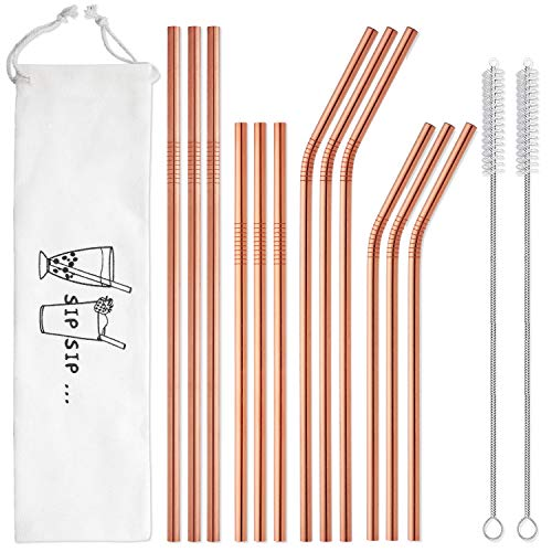 Hiware 12-Pack Rose Gold Metal Straws Reusable with Case - Stainless Steel Drinking Straws for 30oz / 20oz Tumblers Yeti Dishwasher Safe, 2 Brushes ()