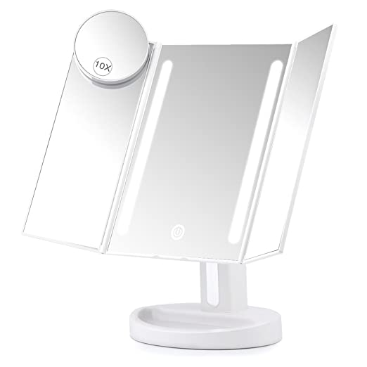 Herwiss Lighted Vanity Makeup Mirror with 10x magnifying power