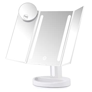 Amazon herwiss lighted vanity makeup mirror with 10x herwiss lighted vanity makeup mirror with 10x magnifying soft led light illuminated for beauty cosmetic shaving aloadofball Images