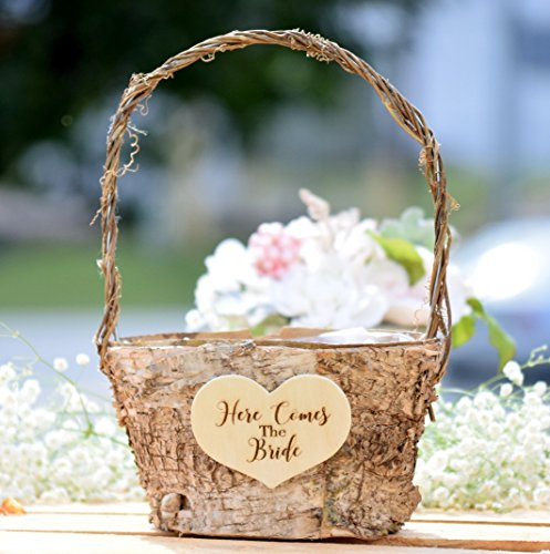 Here Comes the Bride Birch Flower Girl Basket - Birch Basket with Twig Handle - Twig Handle Flower Girl Basket - Wedding Twig Basket
