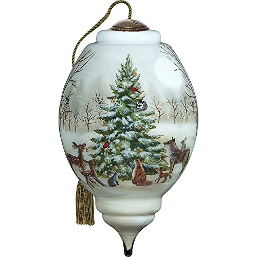Precious Moments, Ne'Qwa Art 7171132 Hand Painted Blown Glass Standard Marquis Shaped Woodland Christmas Scene Ornament, 5.5-inches