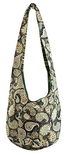 Avarada Hippie Hobo Cotton Crossbody Shoulder Bohemian Bag Medium Size Paisley Pattren Black