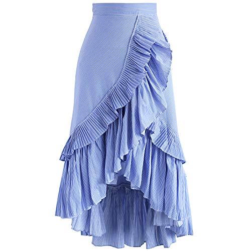 Chicwish Women's Blue Stripes Ruffle Tiered Frill Asymmetric Hem Midi Prom Party Skirt (Large)