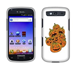 Fincibo (TM) Protector Cover Case Snap On Hard Plastic Front And Back For Samsung Galaxy S Blaze 4G T769 - Pumpkin Emotion