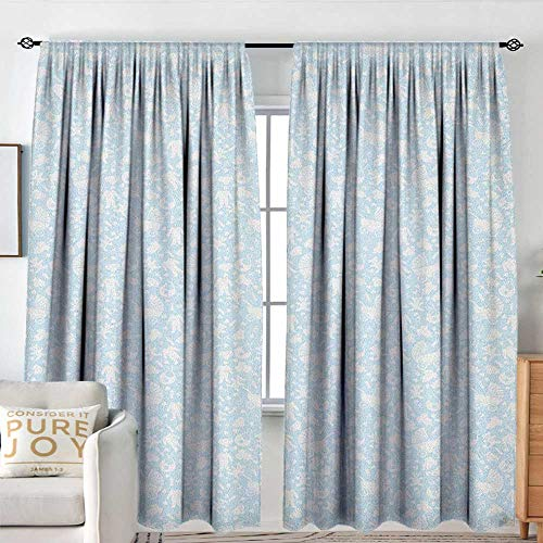 NUOMANAN Blackout Curtains Baby,Hearts Background with Teddy Bears Strollers Infant Clothes Newborn Child Theme, Pale Blue White,Rod Pocket Drapes Thermal Insulated Panels Home décor - Lr Drape