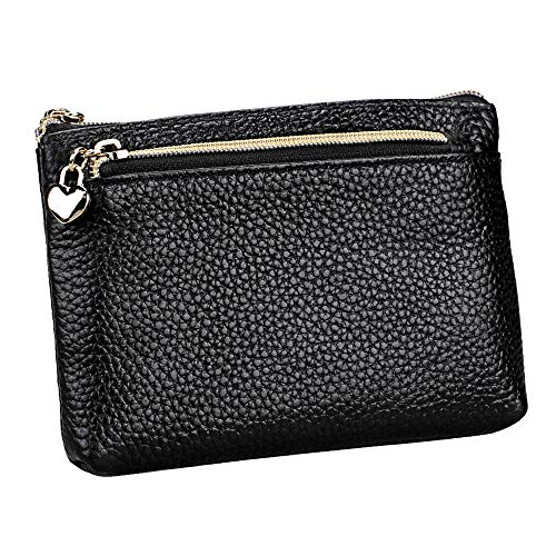 (Women's Genuine Leather Coin Purse Zipper Pocket Size Pouch Change Wallet, Black)