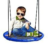 JOYMOR 24 inch Diameter Round Oxford Detachable Swing with Adjustable Tree Rope,Great for Tree, Swing Set, Backyard, Playground, Playroom(Blue)
