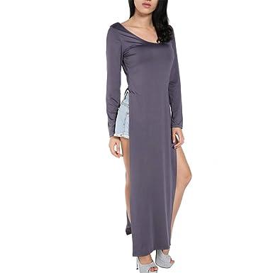 4a5a72a0603 FINEJO Women Sexy Casual Side High Slits Tee Long Top Maxi Dress T-shirt  Tops Blouse  Amazon.co.uk  Clothing