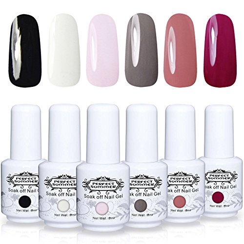 Perfect Summer Soak Off Gel Nail Polish - UV LED Gel Polish Nail Varnish Kits, Pack of 6 Colors,8ml Each #003