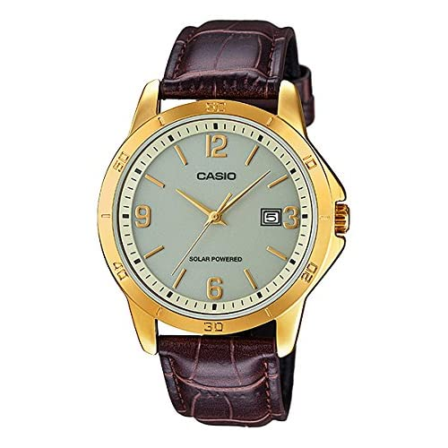 4e9e568cf67b CASIO MTP-VS02GL-9A – Reloj de caballero analógico. Dorado y marrón. Solar