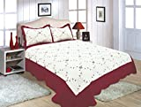 All for You Reversible Quilt Set, Bedspread,Coverlet-/Burgundy/Twin