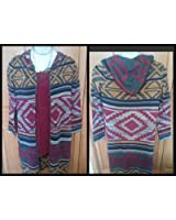 Aztec Print- Knit Hooded Long Cardigan