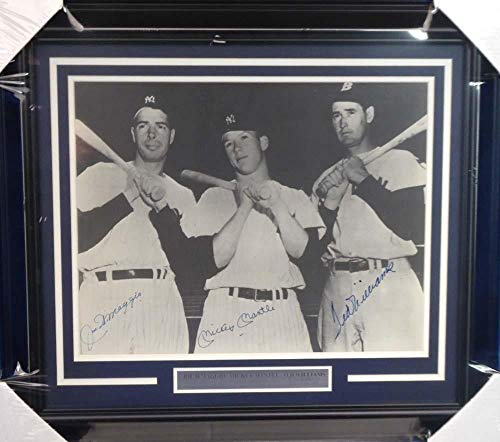 Mickey Mantle, Joe DiMaggio & Ted Williams Autographed Framed 16x20 Photo Beckett BAS #A20744 - Beckett Authentication