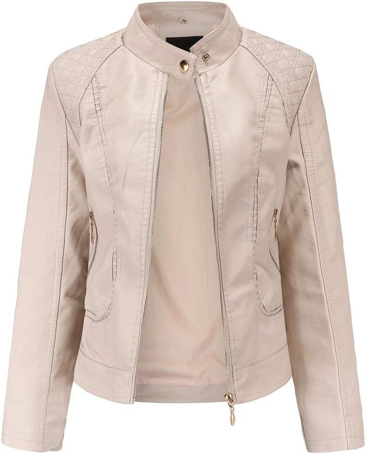 Primavera y otoño ropa de cuero para mujer temperamento de mujer Europa y Estados Unidos cuello alto de gran tamaño chaqueta de cuero de PU chaqueta de mujer chaqueta de cuero de mujer