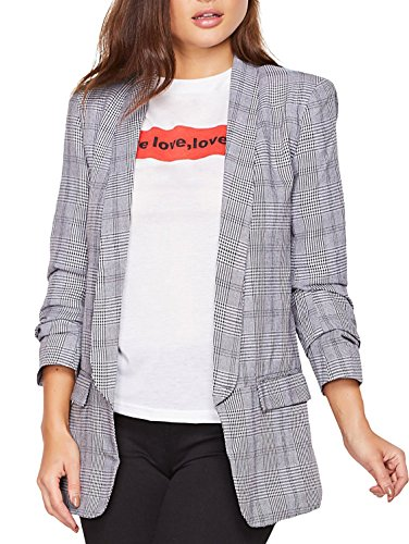 SheIn Women's Shawl Collar 3/4 Ruched Sleeve Open Front Blazer Jacket (Large, - Crinkle Blazer
