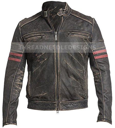 ntage Fight Club Leather Motorcycle Distressed Black Biker Jacket With Red Stripes (M - Chest Size 38