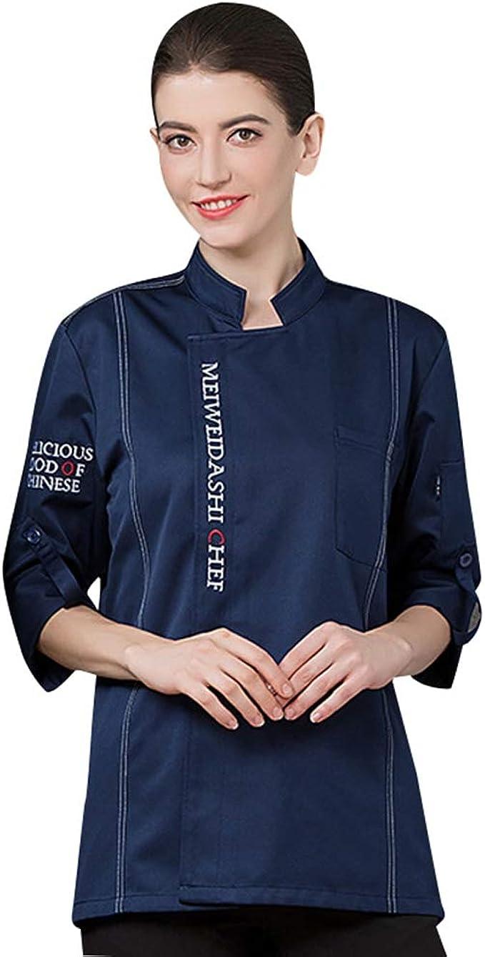 Dooxii Unisex Herren und Damen Herbst Langarm Kochjacke Atmungsaktiv  Westliches Essen Restaurant Küche Hotel Uniform Berufsbekleidung