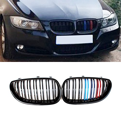 E60 Grille, ABS Front Replacement Kidney Grill for 5 Series E60 E61 Gloss M ()