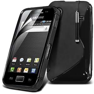 (Negro) Samsung Galaxy Ace S5860 S-Line Onda Protectora Gel piel cubierta retráctil Capacative Pantalla Táctil Lápiz Óptico & 6 Pack Protector de pantalla LCD Protector de Fone-Case