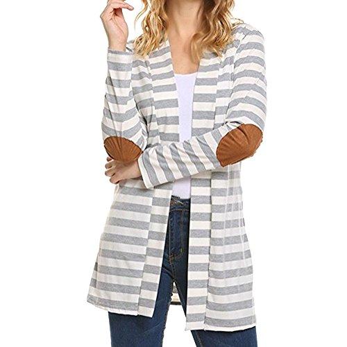 Manche Veste S Longue Cardigan Ouvert Manteau Rayure Automne Outwear Gris Printemps Femme XXXXXL Coton Bonboho clair q8p0Yf
