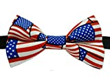 """USA Flag Patriotic Cotton Bow Tie Adult 4.5"""" x 2.5"""" Adjustable to 18 Inches"""