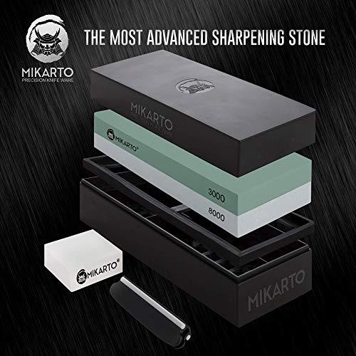 Professional Knife Sharpening Stones | Dual Grit Whetstone 3000/8000 | Premium Whetstone Sharpening Blade Kit | Wet Stone Knife Sharpener Set | Two Sided Polishing Stone for Kitchen & Chef Knives